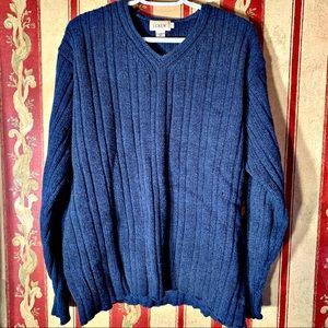 J.Crew   Men's Lambswool V-Neck Blue Sweater SZ L